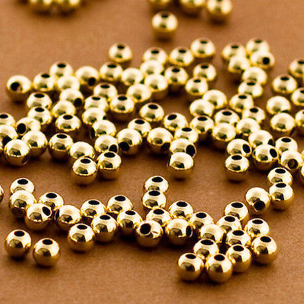 Wholesale 20 Pcs - 3mm Round Beads in 14K Gold