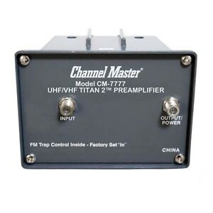 Channel-Master-CM-7777-Titan-2-VHF-UHF-TV-Antenna-Preamplifier-with-Power-Supply
