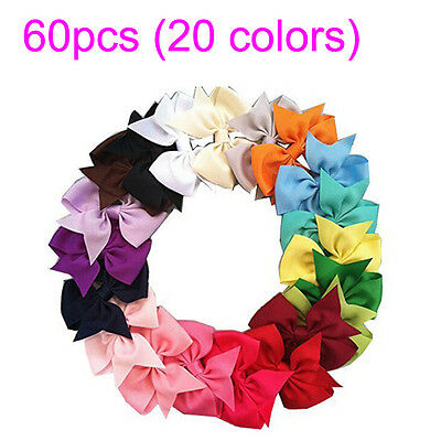 60pcs Boutique Hair Bows Girls Baby Alligator Clip Grosgrain Ribbon Headband