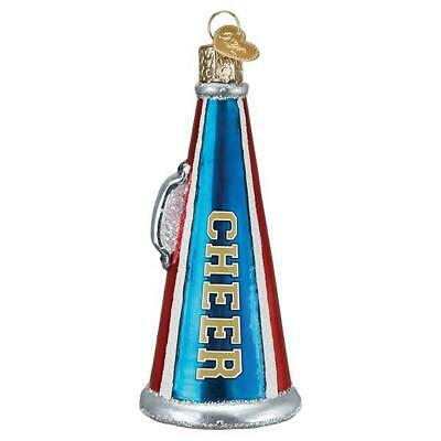 CHEER MEGAPHONE CHEERLEADER OLD WORLD CHRISTMAS GLASS ORNAMENT NWT -