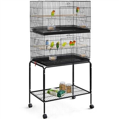 Stackable Flight Bird Cage with Rolling Stand Extra Space for Small Birds