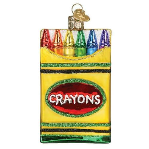 Old World Christmas BOX OF CRAYONS (32458)N  Glass Ornament w/OWC Box