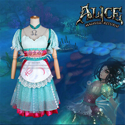 Alice: Madness Returns Alice Liddell Cosplay Costume Siren Mermaid Green Dress (Alice Madness Returns Kostüme)