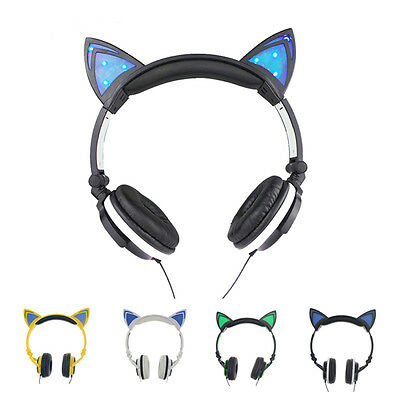 Lovely Cat Ear Gaming Headphones Led Music Lights Rechargeable Colourful