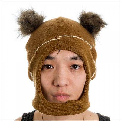 Star Wars Ewok Mascot Costume Cosplay Brown Ski Beanie w/Ears Cap Hat - Ewok Costume Adult