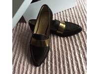 Hobbs chocolate and gold loafer never worn