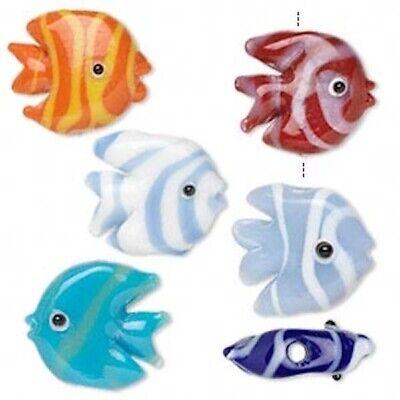 6 Lampwork Glass 17x16mm Tropical FISH Beads / Assorted Color Mix - Assorted Lampwork Glass Beads