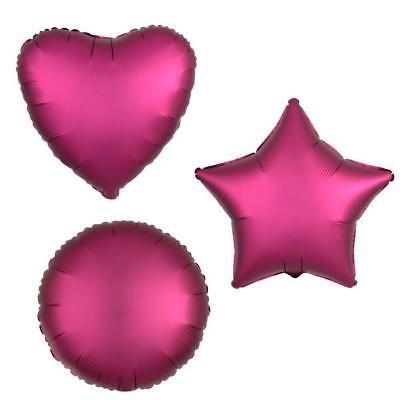 POMEGRANATE HEART STAR CIRCLE FOIL SATIN LUXE BALLOON DECORATOR BIRTHDAY BALLOON