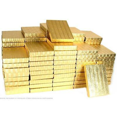 100 Gold Cotton Boxes Necklace Chain Gift Display