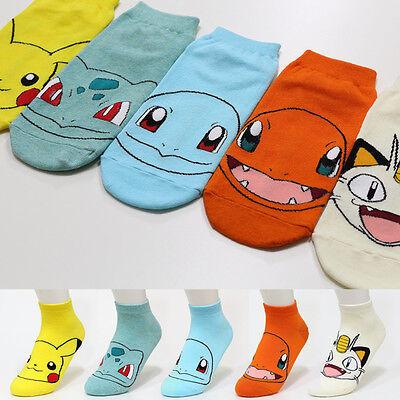 Pokemon Face Cartoon Socks Pikachu Character Socks Women Girls Big Kid s Socks