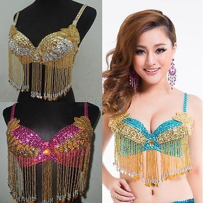Women Professional Belly Dance Costume Sequin Floral Beaded Hip Belt Bra Top E73