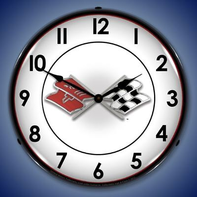 """CORVETTE FLAGS 14"""" ILLUMINATED LIGHTED WALL CLOCK CHEVROLET CHEVY MAN CAVE - NEW"""