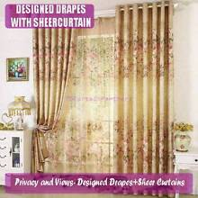 Blackout Purple Green Beige Brown Sheer Drapes Curtain Eyelet Beaumaris Bayside Area Preview