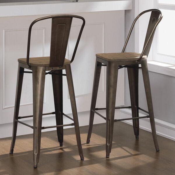 Rustic Bar Stool Set Of 2 Industrial Vintage Bronze Wood Seat Modern Chairs & Rustic Bar Stool Set of 2 Industrial Vintage Bronze Wood Seat ... islam-shia.org