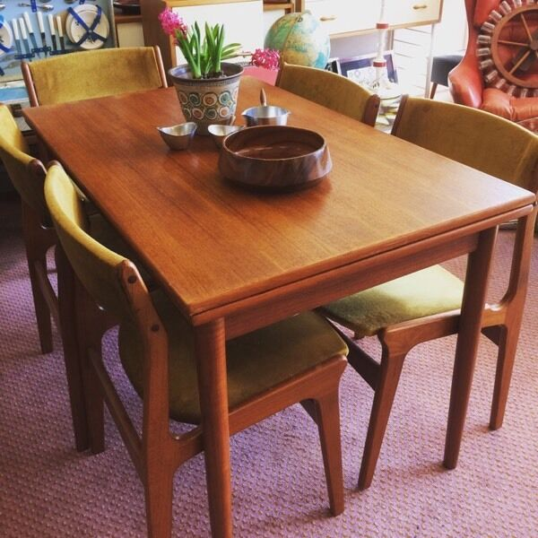 Medium image of danish dyrlund teak dining set 1960s 1970s retro mid century extendable table 5 chairs