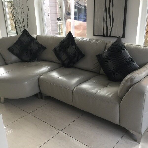 Large Chaise End Dove Grey Leather Sofa From DFS