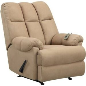 Massage Lazy Boy Chair Recliner Microfiber Padded Dual Rocker Living Room  Tan