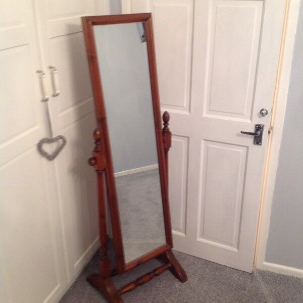 Dark Wood Vintage Full Length Bedroom Mirror And Stand