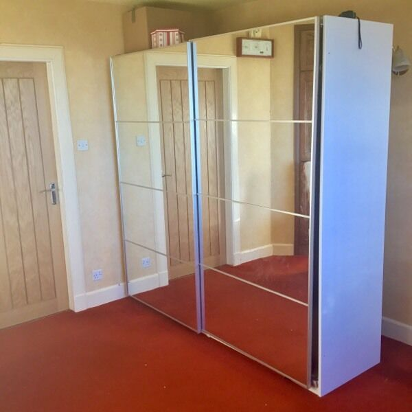 ikea pax wardrobe with mirrored sliding doors 200x202 cm