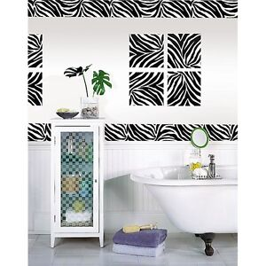 ZEBRA PRINT 16u0027 Removable Sticker Wall Border Stripe Animal Wallpaper Room  Decor