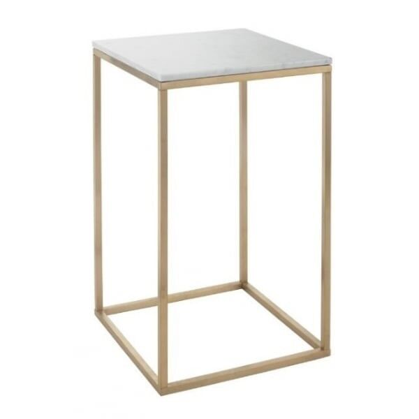 RV Astley Faceby Brushed Gold Side Table With White Marble Top Furniture  RRP£288