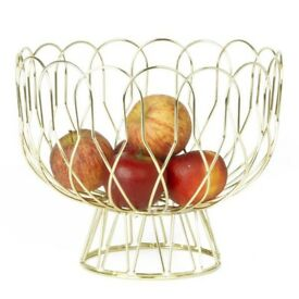 Gold Wire Fruit Bowl (Red Candy)