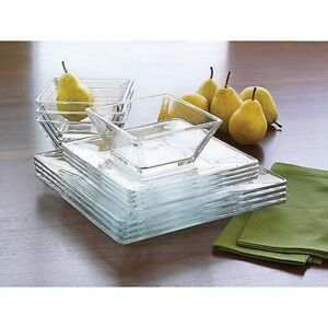 12 Piece Square Dinnerware Glass Clear Dishes Salad Plate Bowl Kitchen Set for 4  sc 1 st  eBay & Clear Glass Dinnerware | eBay