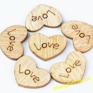 99-Love-Heart-Wood-Loose-beads-charms-Appointment-Wedding-Decorations-15-12mm