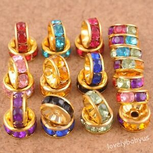 140-pcs-Gold-plated-Metal-Acrylic-spacer-loose-Beads-Charms-Jewelry-Findings-8mm