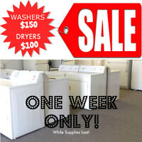 WASHER & DRYER SALE, ONE WEEK ONLY.