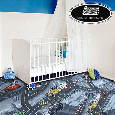 KINDERTEPPICH Teppich DISNEY CARS Grau, Straße, Autos, Spielteppich, alle Größen ()