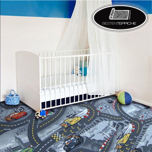 KINDERTEPPICH Teppich DISNEY CARS Grau, Straße, Autos, Spielteppich, alle Größen