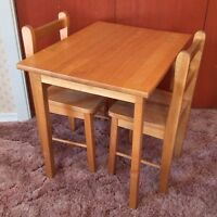 Kidsize wood table & 2 chairs