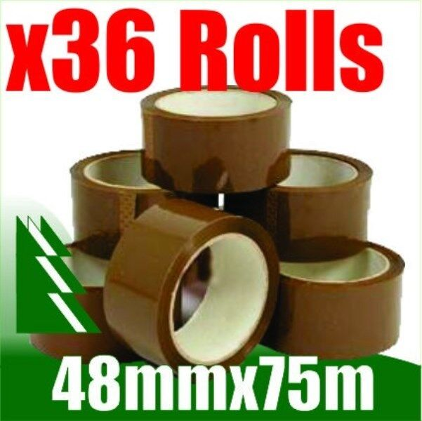 36 x Rolls Brown Packing Packaging Tape 48mm x 75m
