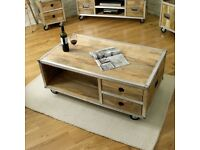 Brand New Baumhaus Roadie Chic Solid Reclaimed Coffee Table with Drawers £490