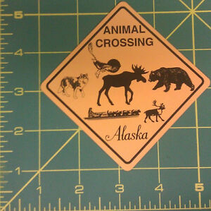 Alaska-Animal-crossing-fridge-Magnet-with-bear-moose-wolf-dog-sled-others