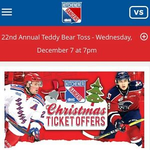 Rangers Teddybear toss game Wed Dec 7th