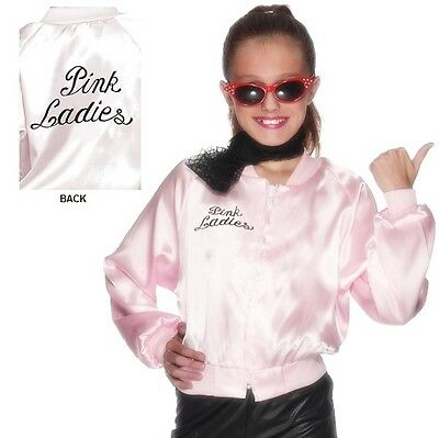 Childs Girls Officially Licensed Grease Pink Lady Fancy Dress Jacket By Smiffys