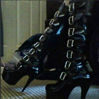 Pleaser Black Buckle Boots Size 8