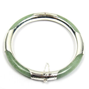 Natural Green Jade 925 Silver Hinged Bangle Bracelet