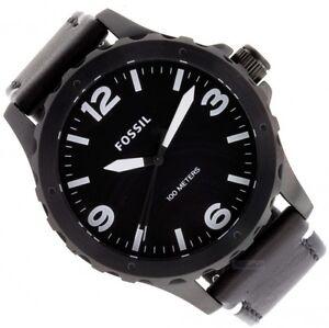 fossil nate herren uhr armbanduhr mit lederband jr1448 ebay. Black Bedroom Furniture Sets. Home Design Ideas