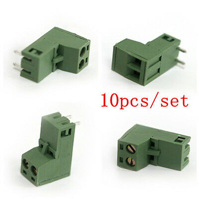 10pc5mm Pitch 2 Edg 2 Pin Plug-in Right Angle Pcb Screw Terminal Block Connector