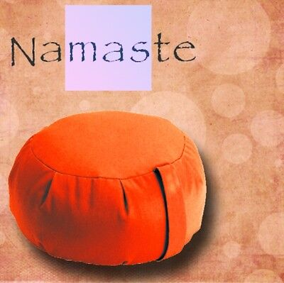 NEW - Stuffed Zafu Yoga Pillow Meditation Cushion -TANGERINE ORANGE- MADE in USA for sale  Brooklyn