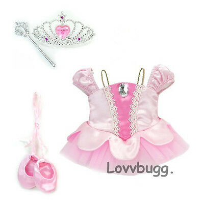 Light Pink Classic Ballet Costume with Shoes, Tiara and Wand Set for American Girl 18 inch or Bitty Baby 15 inch Doll Clothes