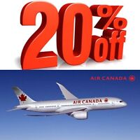 Air canada ticket 20% off discount code for sale