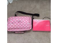 Pink Samsung netbook with case and charger