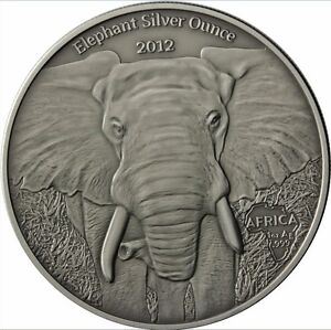 1000-Francs-Gabun-Elefant-2012-1-OZ-silver-Antique-finish