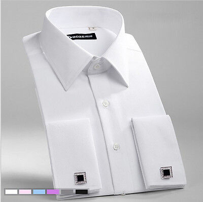 New Men's White French Cuff wedding Formal Slim Casual Business Dress -