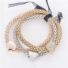 Bracelets with charm on - rose gold, gold and silver