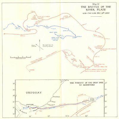 BATTLE OF RIVER PLATE(RIO DE LA PLATA). 1939; Graf Spee to Montevideo 1954 map